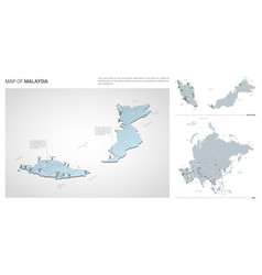 Set malaysia country isometric 3d map malaysia vector