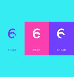 set number 6 minimal logo icon design template vector image