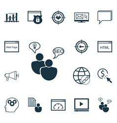 set of 16 advertising icons includes intellectual vector image