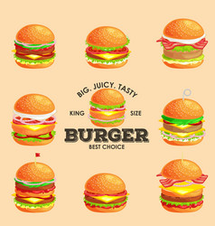Set of tasty burger grilled beef and fresh vector