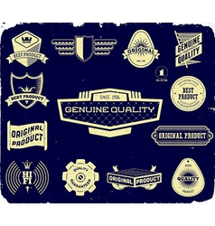 Set of vintage labels on the black Collection 1 vector image
