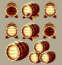 Set of vintage wooden barrels in different vector