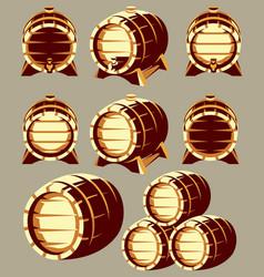 set vintage wooden barrels in different vector image