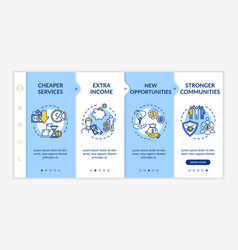 Sharing economy advantages onboarding template vector