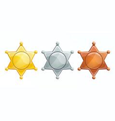 Sheriff badge icon golden silver bronze vector