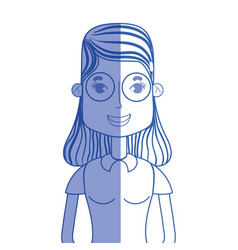 Silhouette woman with hairstyle and glasses vector