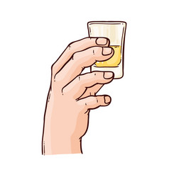 Sketch gin tonic tequila glass toasting vector