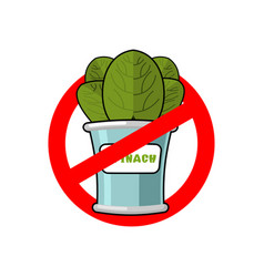 stop spinach ban red sign prohibited green leaves vector image