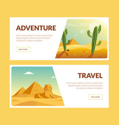 travel adventure horizontal banners set summer vector image