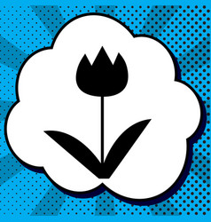 tulip sign black icon in bubble on blue vector image