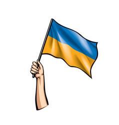 Ukraine flag and hand on white background vector