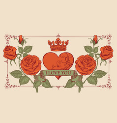 vintage greeting card with red heart and roses vector image