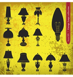 Vintage table lamp silhouette vector