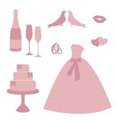 Vintage wedding invitations icons vector image