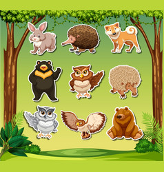 wild animal sticker tehmplate vector image