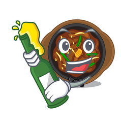 With beer bulgogi isolated with in character vector