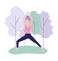 Woman training exercise posture balance vector