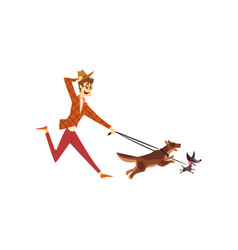 Young man running with his dogs cute pets with vector