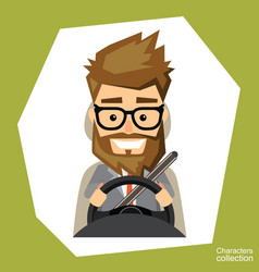 a man is driving in a car vector image