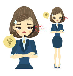 A young call center woman with an upset face vector