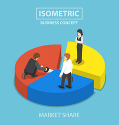 businessman cut chart pie with saw and sharing to vector image