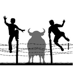 escaping the bull vector image vector image
