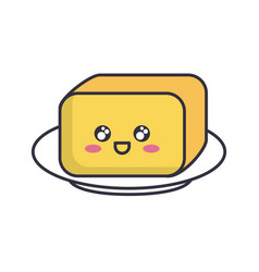 plate with butter icon vector image