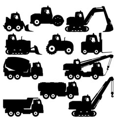 set of construction machinery vector image