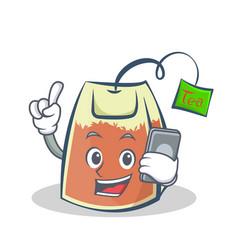 tea bag character cartoon with phone vector image