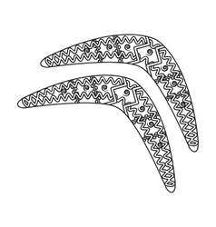 Australian boomerang icon in outline style vector image