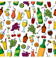Birthday party drinks and fruits seamless pattern vector image vector image