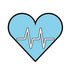 blue heart beat pulse vector image