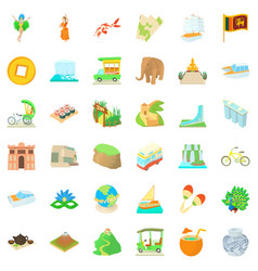Globe journey icons set cartoon style vector