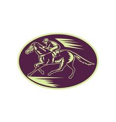 Horse and jockey racing side view vector image vector image