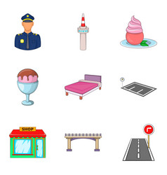 hotel in airport icons set cartoon style vector image