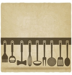 Kitchen Utensil Set old background vector image vector image