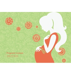 Silhouette of pregnant woman in summer vector image