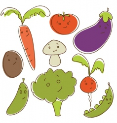 vegetable cartoons vector image vector image