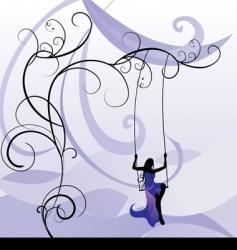violet girl on swing vector image