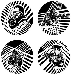 Badges with armed soldiers vector image vector image
