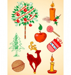 Christmas doodles vector image vector image