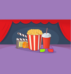 cinema movie horizontal banner cartoon style vector image vector image