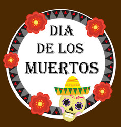 day of the dead mexican holiday greeting card vector image vector image