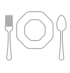 drawing of thin line fork octagonal plate vector image vector image