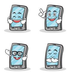 set of smartphone cartoon character vector image vector image