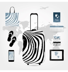 Travel suitcase with set of icons for your design vector image