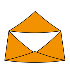 color silhouette image envelope mail opened vector image