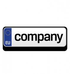 European car plate logo vector image vector image
