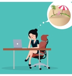 Girl dreaming about vacation Sitting in the vector image vector image