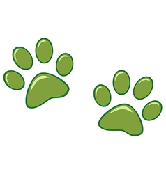 Green Paw Prints vector image vector image
